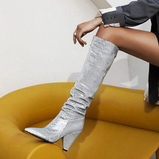 Arden Furtado 2021 Winter Fashion Sequins Sleeve boots Women's Shoes Sexy Blue Cone With Pointed Toe Knee High Boots Elegant New 34-48