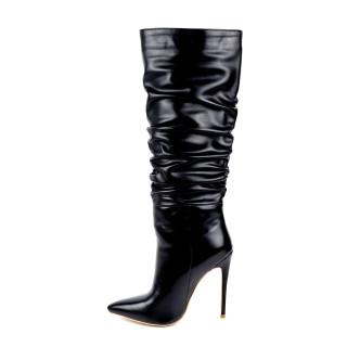Arden Furtado Fashion Women's Shoes Winter Sexy Elegant Stilettos Heels Pointed Toe Fold Black Knee High Boots