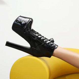 Arden Furtado 2021 Winter Fashion Women's Shoes Sxey Waterproof Chunky Heels Zipper Cross Lacing Concise Red Women's Boots 46