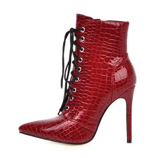 Arden Furtado 2021 Fashion Autumn Winter Pointed Toe White Cross Tied Women's Shoes Stilettos Heels Sexy Ankle Boots Big Size 48