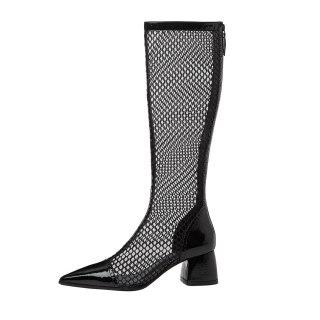 Arden Furtado 2021 Fashion Summer boots Women's Beige Back Zipper Cool boots Chunky Heels Knee High Mesh Boots Big Size 40 33