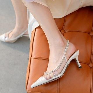 Arden Furtado 2021 summer Fashion Women's Shoes poots  PVC strap Sandals Stilettos Heels Pointed Toe Crystal Rhinestone 41