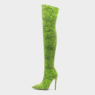 Arden Furtado 2021 Spring Fashion Women's Shoes Zipper sexy green orange Pointed Toe Stilettos Heels Over The Knee Boots 44 45