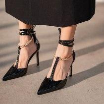 Arden Furtado 2021 summer Fashion Women's Shoes Mature Office lady Ankle Strap Sandals white Stilettos Heels 10cm Pointed Toe 41