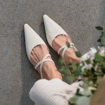 Arden Furtado Summer Fashion 2021 Women's Shoes Sexy  White Elegant Slippers  6cm Chunky Heels Mules strange heels size 45