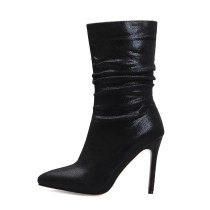 Arden Furtado 2021 Fashion Autumn Winter Pointed Toe Black Women's Shoes Stilettos Heels Sleeve boots Sexy Ankle Boots Big Size 48