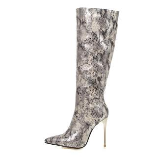 Arden Furtado 2021 Winter Autumn Fashion Serpentine Pointed Toe Women's Shoes Zipper Sexy Stilettos Heels Knee High Boots Elegant New 48