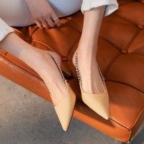 Arden Furtado 2021 summer Fashion Women's Shoes Metal Chains Mature Office lady Sandals Stilettos Heels Pointed Toe pumps 40 41