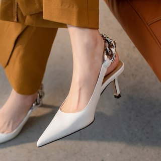 Arden Furtado 2021 summer Fashion Women's Shoes Slip on Metal Chain Mature Office lady Sandals Stilettos Heels Pointed Toe 41