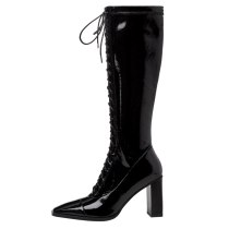 Arden Furtado 2021 Fashion spring Square Head Women's Shoes Elegant  Women's Boots Cross Lacing knee high boots 43
