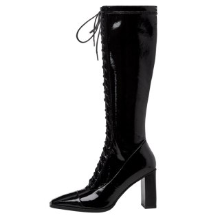 Arden Furtado 2021 Fashion spring Square Head Women's Shoes Elegant  Women's Boots Cross Lacing knee high boots 43