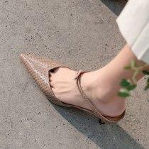 Arden Furtado Summer Fashion 2021 Women's Shoes Sexy  Green Narrow Band Elegant Stilettos Heels Slippers  6.5cm Mules size 41
