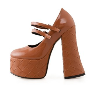 Arden Furtado 2021 Spring Fashion Women's Sexy Pointed Toe Waterproof Chunky Heels  Party shoes brown buckle strap Pumps 41 42