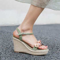 Arden Furtado 2021 Summer Fashion Temperament Wedges Straw The fair maiden Women's shoes Elegant One line buckle Apricot Bohemian Lady Sandals New