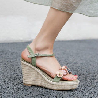 Arden Furtado 2021 Summer Fashion Temperament Wedges Straw The fair maiden Women's shoes Elegant One line buckle Apricot Bohemian Lady Sandals New