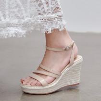 Arden Furtado 2021 New Summer Fashion Waterproof Wedges Straw Women's shoes Elegant Leisure Buckles Apricot Lady Sandals 39