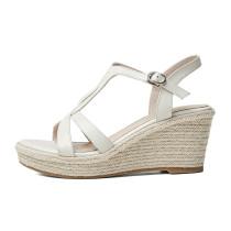 Arden Furtado 2021 Summer Fashion Leisure Wedges Straw Women's shoes Elegant One line buckle Apricot Bohemian Lady Sandals New 34-39