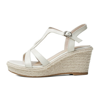 Arden Furtado 2021 Summer Fashion Leisure Wedges Straw Women's shoes Elegant One line buckle Apricot Bohemian Lady Sandals New 34-39