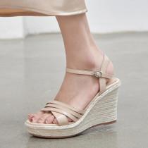 Arden Furtado Summer Fashion Wedges Straw Waterproof  Women's shoes Elegant Buckles Dark green Lady Sandals New 34-39