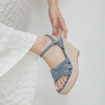 Arden Furtado 2021 Summer Fashion Wedges Straw Women's shoes Elegant One line buckle Apricot Lady Sandals New 34-39