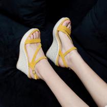 Arden Furtado 2021 New Summer Fashion Waterproof Wedges Straw High heels Women's shoes Elegant Leisure Buckles Apricot Heel height 9cm Lady Sandals 39