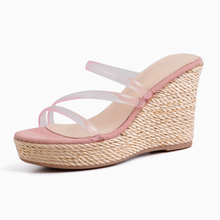 Arden Furtado 2021 Summer Fashion Sexy Wedges Women's shoes Elegant Open-toed Buckle Pink Lady Slippers New 34-39