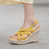 Arden Furtado 2021 Summer Fashion Wedges Straw Waterproof  Women's shoes Elegant Buckles Yellow Lady Sandals New 34-39