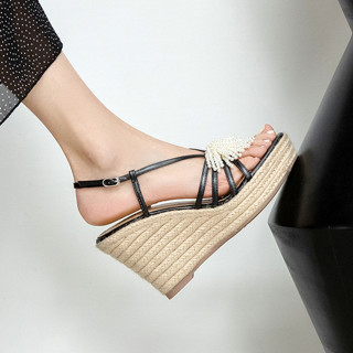 Arden Furtado Summer Fashion Waterproof Wedges Straw Women's shoes Elegant Beads Buckles Black Lady Sandals