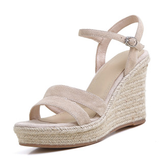 Arden Furtado 2021 Summer Fashion Leisure Wedges Straw High heels Women's shoes Elegant Open-toed Buckle Apricot Bohemian Lady Sandals New 34-39