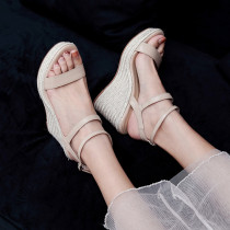 Arden Furtado Summer Fashion Wedges Straw Waterproof  Bracelet strap Women's shoes Elegant Leisure Apricot Lady Sandals New 34-39