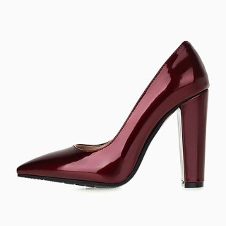Arden Furtado 2021 New Spring autumn Fashion Pointed Toe Chunky Heels Women's Shoes Sexy Elegant burgundy Pumps Big Size 42 43