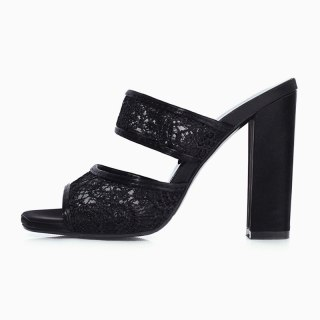 Arden Furtado Summer 2021 Fashion Chunky heels Wwomen's shoes Concise Black Lace Personality Slippers Platform Lace Slippers