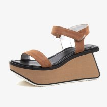 Arden Furtado Summer Genuine Leather Women's Shoes Brown Buckle strap Fashion Party Shoes Platform wedges Sandals casual shoes