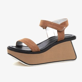 Arden Furtado Summer Genuine Leather Women's Shoes Brown Buckle strap Fashion Party Shoes Platform wedges Sandals casual shoes