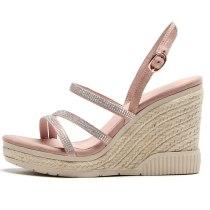 Arden Furtado Summer Fashion Women's Shoes Elegant Wedges Buckle strap crystal rhinestone narrow band platform Sandals girls