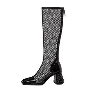 Arden Furtado 2020 Summer Fashion Women's Shoes White Classics Zipper Block heels Sexy Elegant square toe knee high mesh Boots