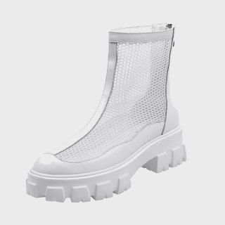 Arden Furtado 2020 Fashion White Women's Shoes Elegant Wire side Round Toe Women's zipper  ankle Boots zipper  big size 40