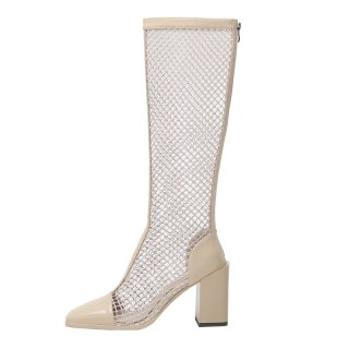 Arden Furtado 2021 Fashion Summer boots Women's Back Zipper white Square Head Chunky Heels mesh boots ladies Knee High Boots