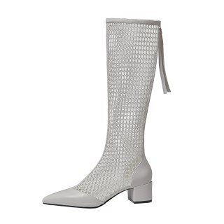 Arden Furtado 2020 Summer Fashion Women's Shoes White Classics back Zipper Square heels Sexy Elegant knee high Mesh Boots 33  40