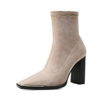2021 autumn winter zipper party shoes ladies square toe gray ankle boots Slip-on boots sexy elegant chunky heels stretch boots