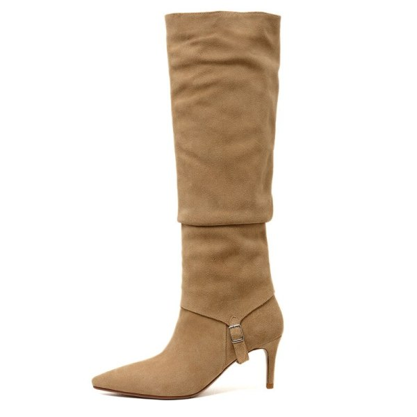 Arden Furtado 2021 Spring autumn High heels Stilettos heels Genuine leather Yellow suede Long boots Pointed toe Knee high boots 33 40