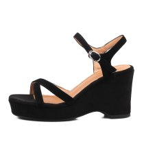 LIKITINY 2021 Summer high heels wedges platform Sandals wowen's shoes buckle strap casual open toe genuine leather sandals new