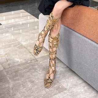 Arden Furtado  2021 Summer gladiator Sandals wowen's shoes Suqare heels peep toe Back zipper ladies Lace up casul knee high Sandals 41
