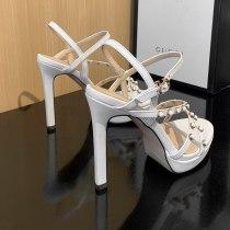 2021 Summer platform high heels White yellow Rivets Sandals wowen's shoes Stilettos heels Party shoes Women's shoes 33
