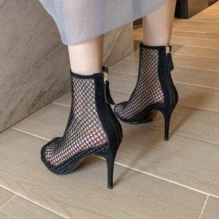 Arden Furtado 2021 Summer high heels nude mesh boots Sandals wowen's shoes Stilettos heels peep toe back zipper Party shoes ladies