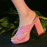 Arden Furtado 2021 Summer chunky heels platform shoes red pink green suede high heels ladies slides women's shoes Slippers size 40
