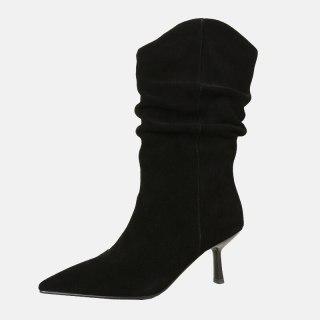 Arden Furtado 2021 Spring autumn High heels Women's shoes Stilettos heels Genuine leather Yellow suede Mid calf Half boots 33 40 new