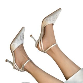 LIKITINY 2021 Summer high heels White Ethnic Flowers Sling back Sandals wowen's shoes Stilettos heels Party shoes Elegant heels