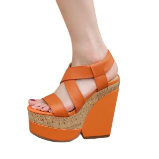 Summer high heels wedges platform Sandals Wowen's shoes Buckle strap Open toe Genuine leather Casual sandals 40