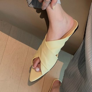 Summer Wedges heels Genuine Leather Flat yellow Slippers Open toe Casual slides Women's shoes peep toe sandals 40